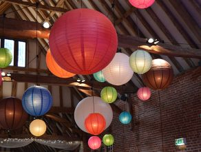 Hanging paper lanterns with a twist.
